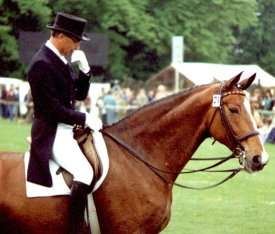 A pensive Dr Klimke with a very relaxed looking Alherich after their Grand Prix test